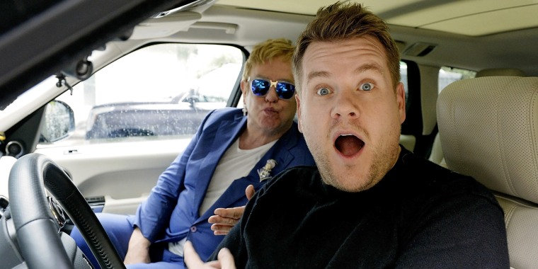 James Corden with Elton John during a taping of 'Carpool Karaoke'