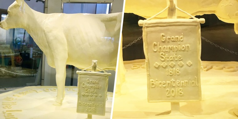 Misspelling on a sculpture made from butter at the Illinois State Fair.