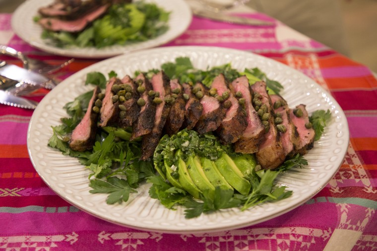 Avocado salad with grilled steak.