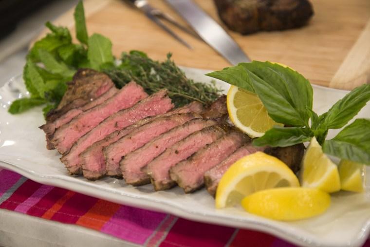 Lemon and herb marinated steak.