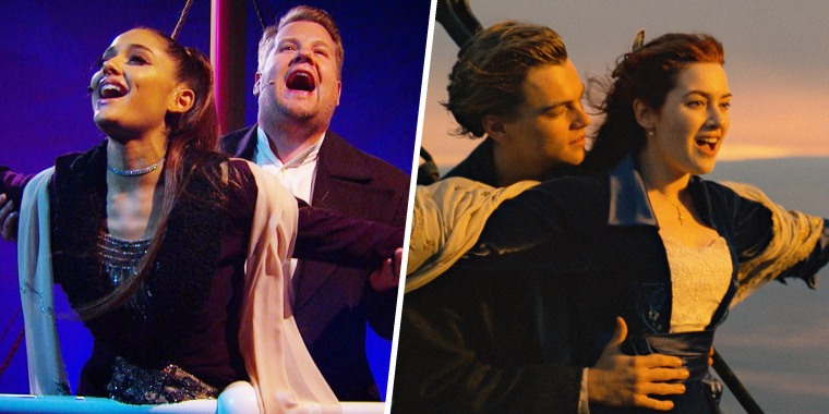 James Corden and Ariana Grande, Titanic