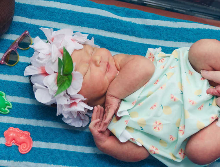 Babies in the Special Care Unit got a chance to celebrate summer when nurses dressed them up as if they were going to the beach.