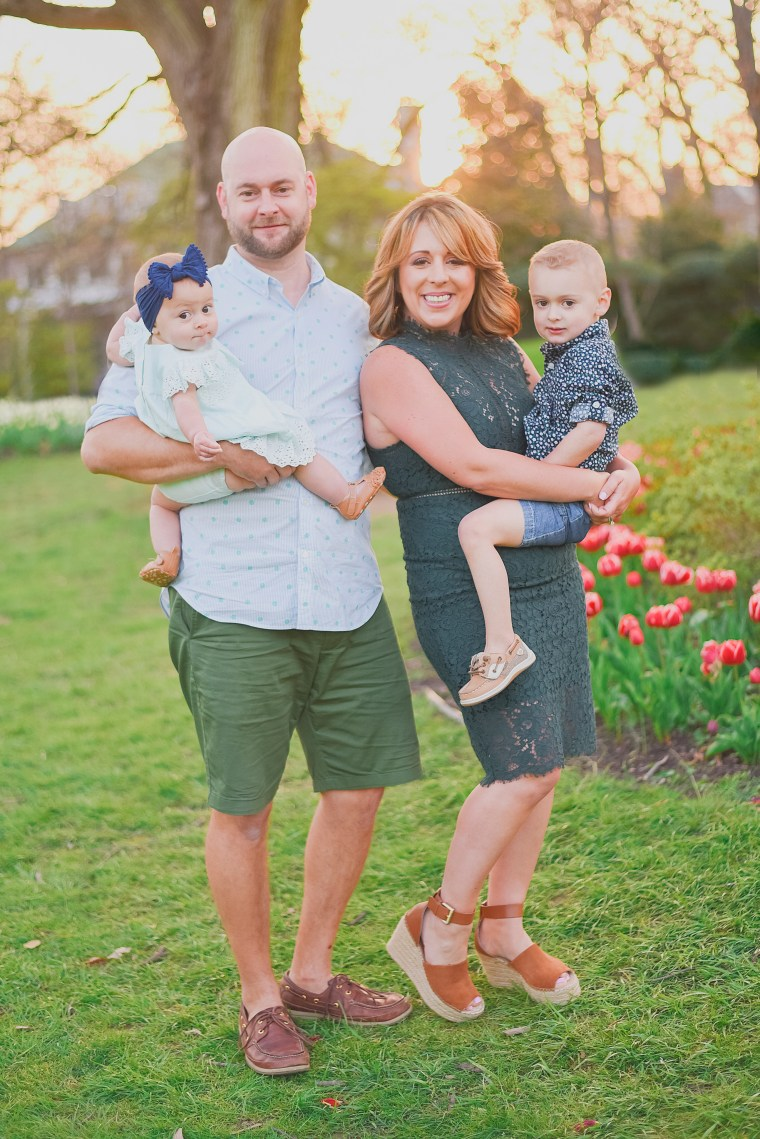Lewis with her husband, Matt, and their children, Wesley, 4, and Charlotte, 1. The couple's middle child, Frankie, died in July 2016.