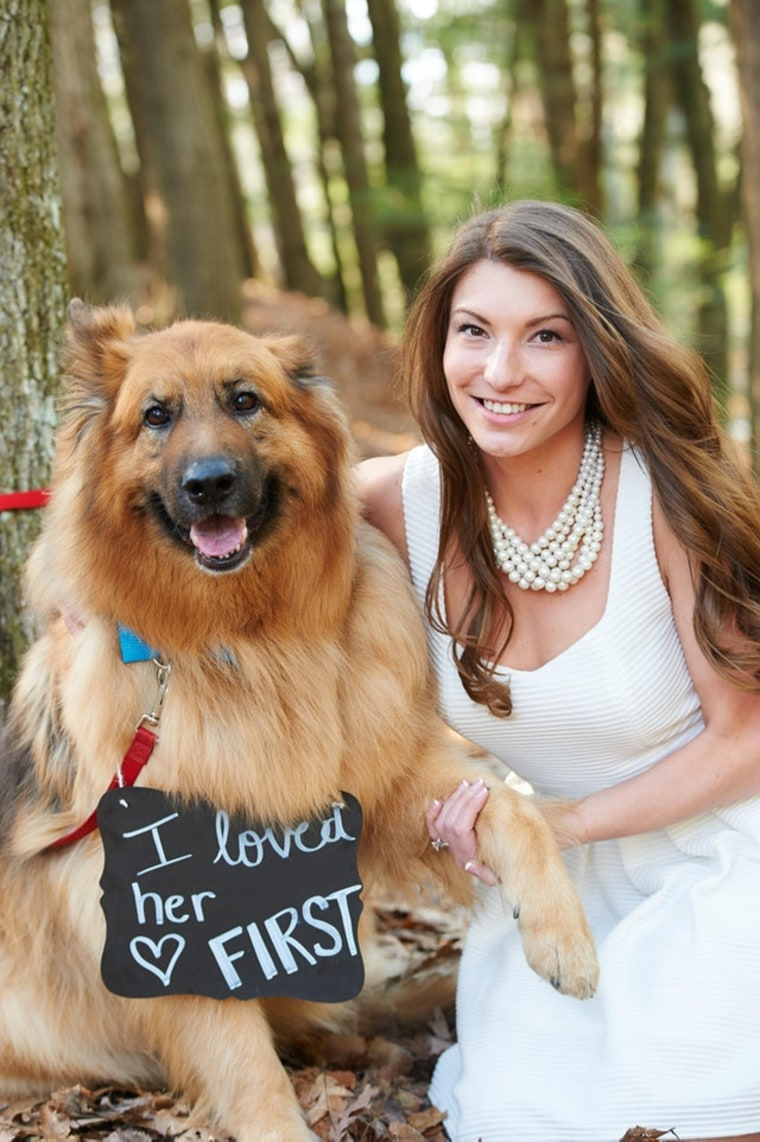 "Man shares engagement photo with dog showing ""pecking order"""