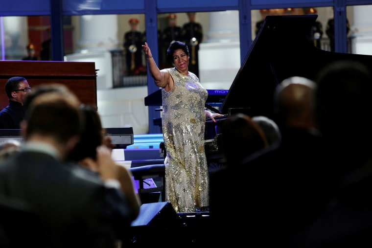 Singer Aretha Franklin performs at an International Jazz Day All-Star Global Concert on the South Lawn of the White House