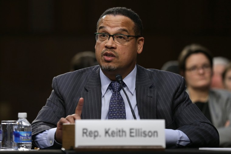 Image: Rep. Keith Ellison testifies before the Senate Judiciary Committee in 2014