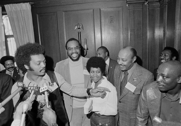 Image: Jesse Jackson, Tom Todd, Aretha Franklin, Louis Stokes