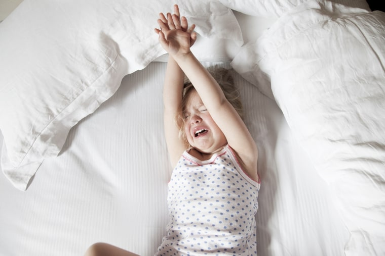 Image: Little girl crying in bed