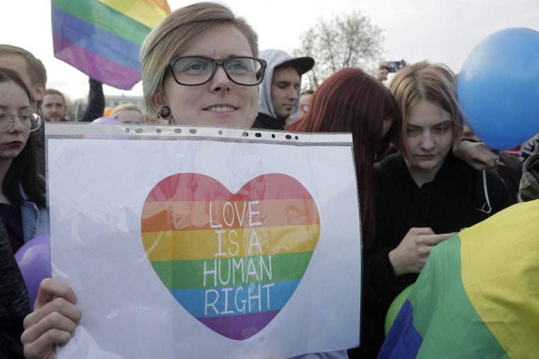 Gay rights activists  in St. Petersburg, Russia.