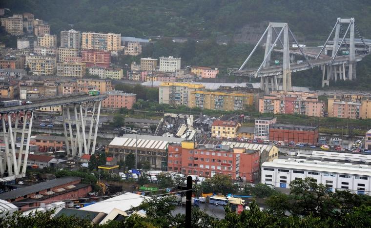Image: The collapsed Morandi Bridge is seen in the Italian port city of Genoa