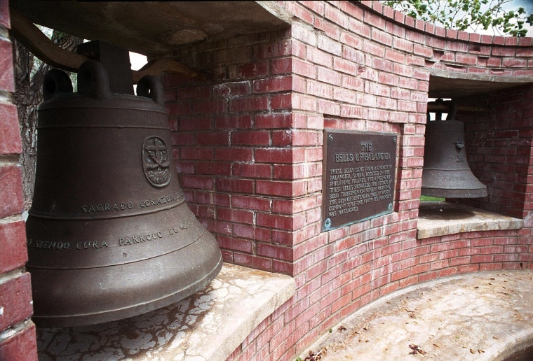 Two of the Bells of Balangiga at F.E. Warren Air Force Base outside Cheyenne, Wyoming, May 2001.