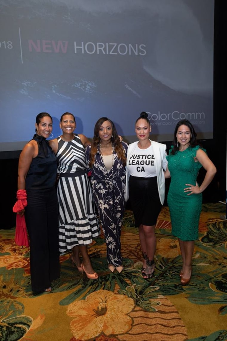 Black Enterprise's Caroline Clarke (left) speaks at the 2018 ColorComm Conference in Hawaii, along with other female business leaders.