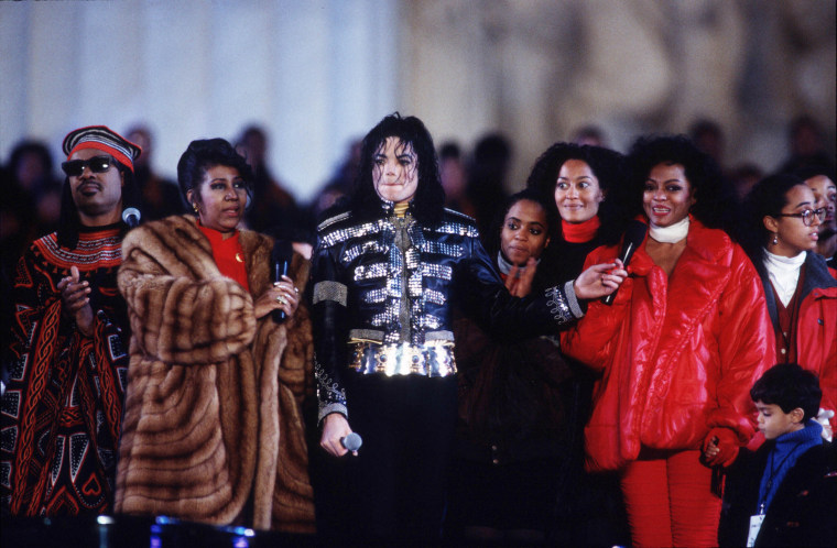 Image: Franklin, Stevie Wonder, Michael Jackson and Diana Ross celebrate President Bill Clinton's inauguration