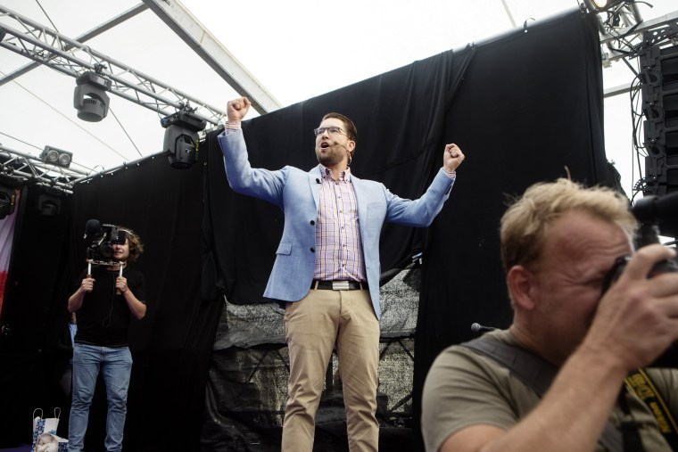 Image: Jimmie Åkesson at his far-right party's summer festival