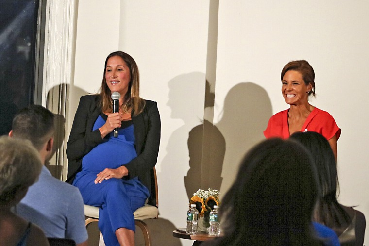 """You are constantly doing stories that challenge who you are and that is why I do it,"" Yasmin Vossoughian explained to the audience, with fellow MSNBC anchor Stephanie Ruhle (right)."