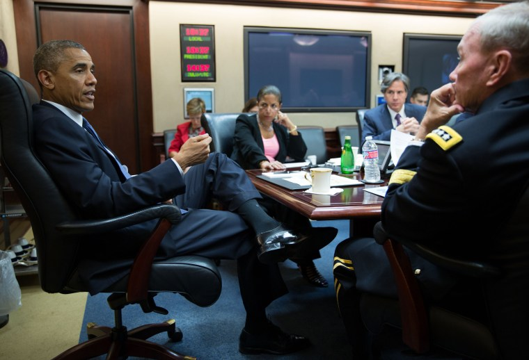 Image: President Barack Obama meets with the National Security Council in the Situation Room of the White House
