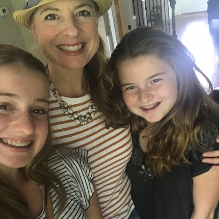 "Rachel Stafford, author of ""Hands Free Mama,"" with her daughters, Natalie and Avery."