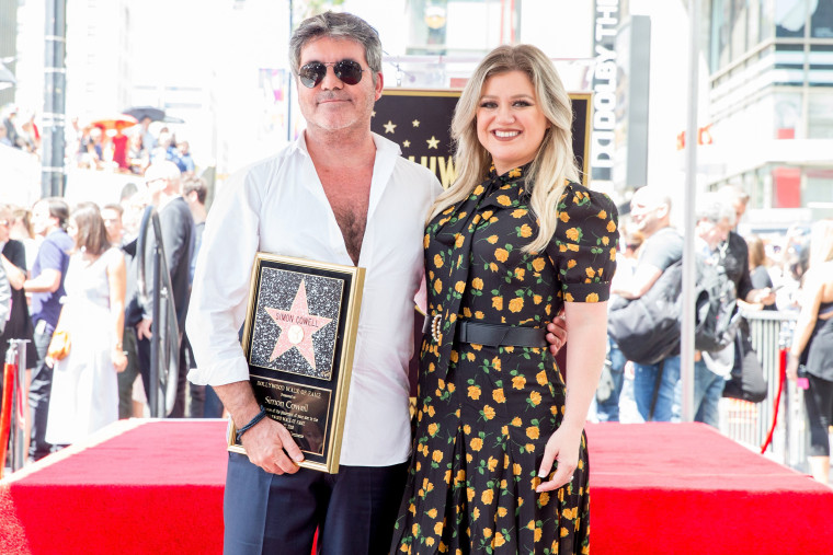 Simon Cowell and Kelly Clarkson at Hollywood Walk Of Fame ceremony