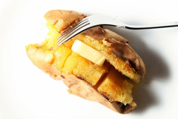 Baked sweet potato, baked sweet potato with butter, whole baked sweet potato