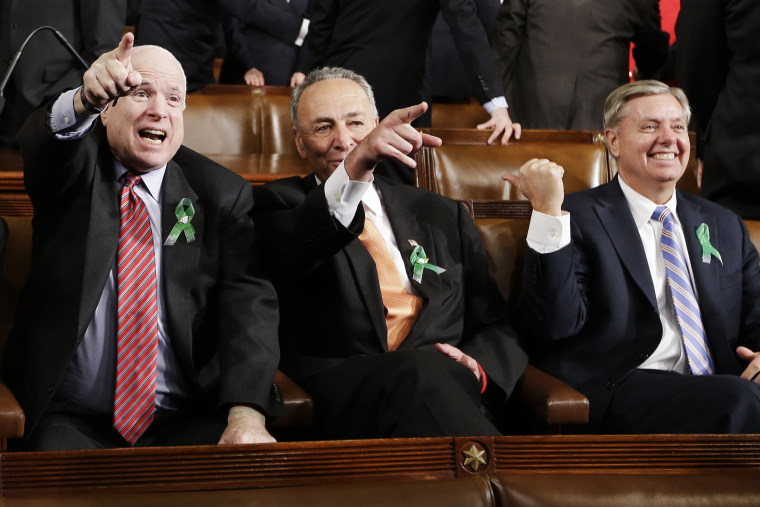 Image: John McCain, Charles Schumer, Lindsey Graham
