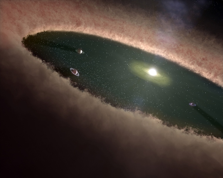 A protoplanetary disk surrounds a young star.