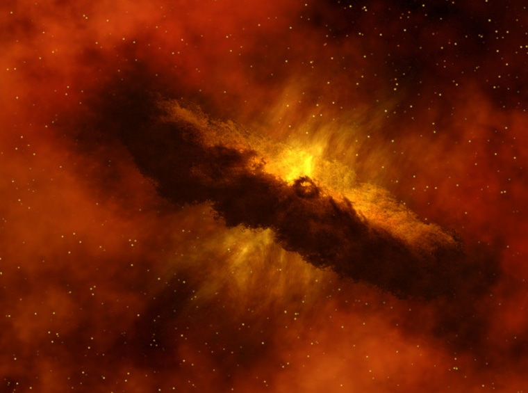 An artist's animation of a protoplanetary disk, which will eventually turn into a solar system.