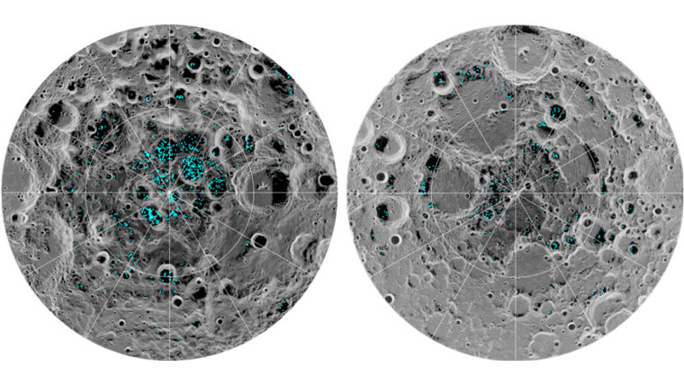 The distribution of surface ice at the Moon's south pole (left) and north pole (right), detected by NASA's Moon Mineralogy Mapper instrument.
