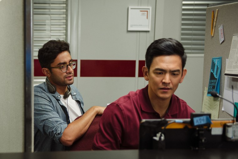 "Director/writer Aneesh Chaganty on the set of ""Searching"" with star John Cho"
