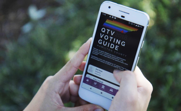 Image: The Chattanooga Queer Community Forum's app, Queer the Vote 2018: Hamilton County.