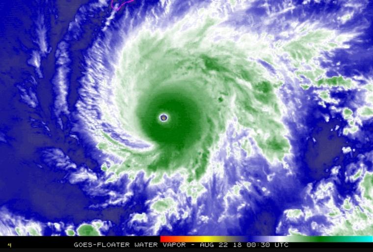 Image: NASA satellite image shows Hurricane Lane southeast of the Hawaiian Islands on Tuesday