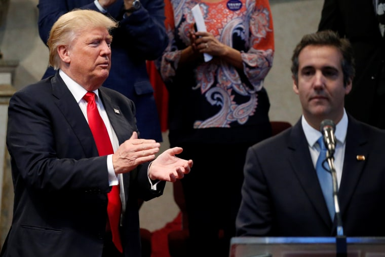 Trump appears with Cohen during a campaign stop at the New Spirit Revival Center church in Cleveland Heights, Ohio