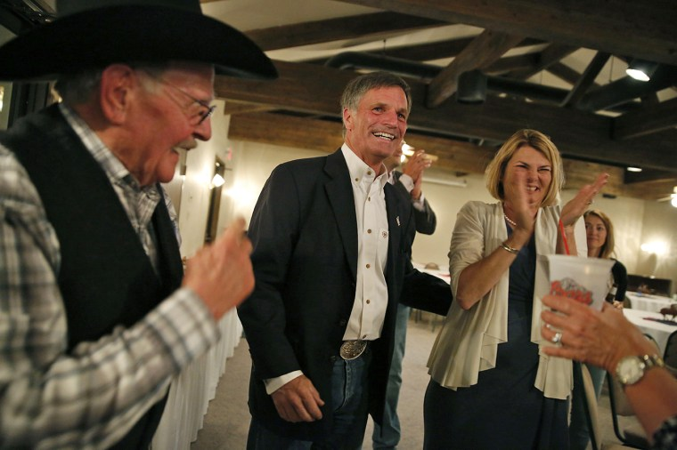 Gubernatorial candidate and Wyoming Secretary of State Mark Gordon celebrates with supporters as poll numbers are finalized during Gordon's election night party at Bozeman Trail Steakhouse in Buffalo, Wyoming, on Aug. 21, 2018.