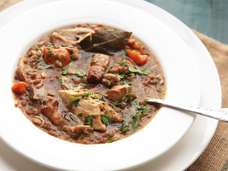 Quick and Easy Pressure Cooker Chicken, Lentil, and Bacon Stew With Carrots Recipe