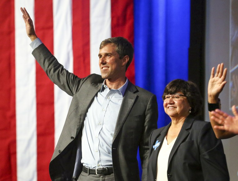 Beto O'Rourke and Lupe Valdez
