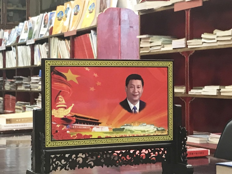 Image: A portrait of Chinese President Xi Jinping at the Sera Monastery