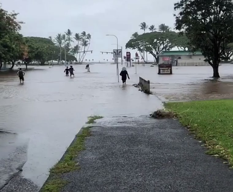 Flooding in Hilo, Hawaii on Aug. 23,  2018.