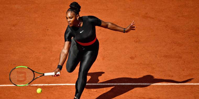 Serena Williams wearing her black catsuit at the French Open