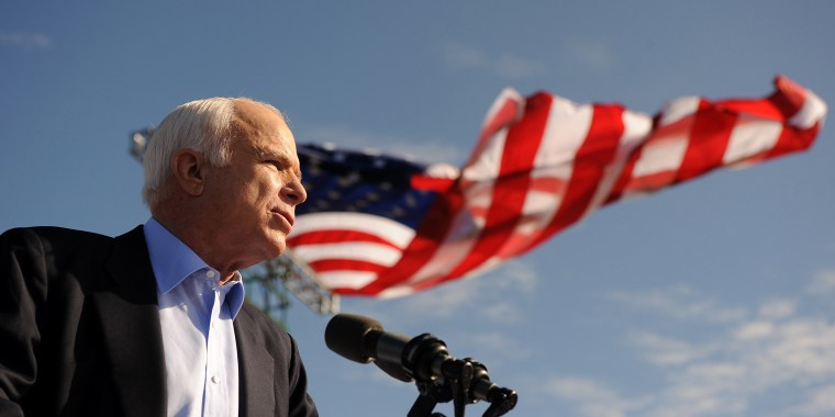 Image: McCain speaks at a campaign rally in 2008