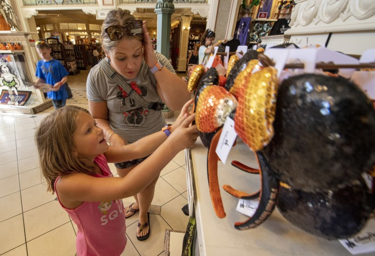 Walt Disney World's Halloween merchandise includes a variety of sequined Minnie Mouse ears.