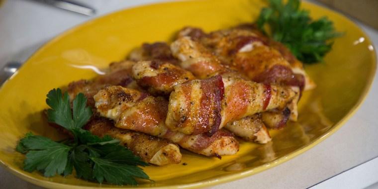 Rachel Hollis' Bacon-Wrapped Chicken Fingers, Crispy Sweet Potato Bake, Fattoush Salad