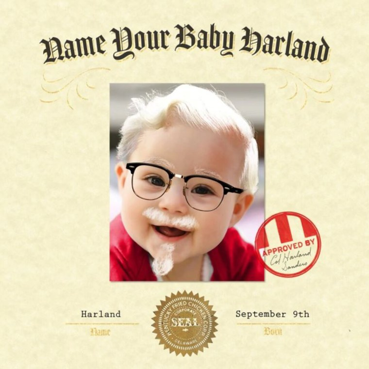 KFC is offering to pay parents who name their kid Harlan