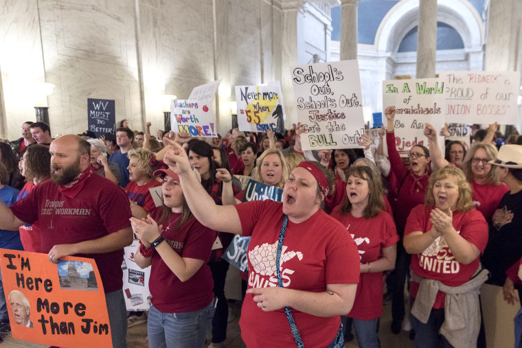 Image: Hundreds of teachers and school personnel rally at the Capitol building