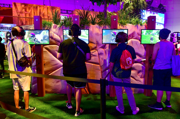 Image: Gaming fans play the game 'Fortnite' at the 24th Electronic Expo, or E3 2018 in Los Angeles