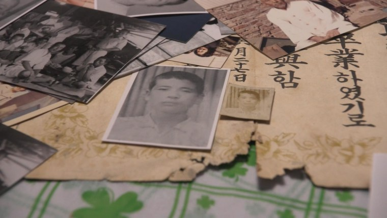 Image: Photos and documents are Lee Soo-nam's mementos of his life before the Korean War