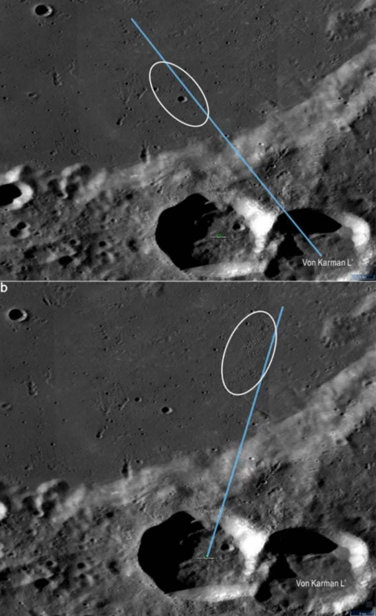 Image: Secondaries within the proposed Chang'e 4 landing region formed by the Von K?rm?n L and Von K?rm?n L' crater-forming impact