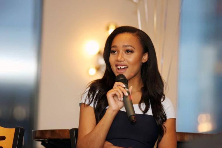 Equities trader Lauren Simmons speaks at the Pyramid Club in Philadelphia in August.