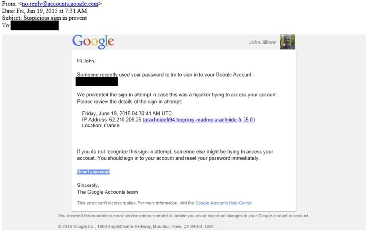 Image: Phishing Scam Email