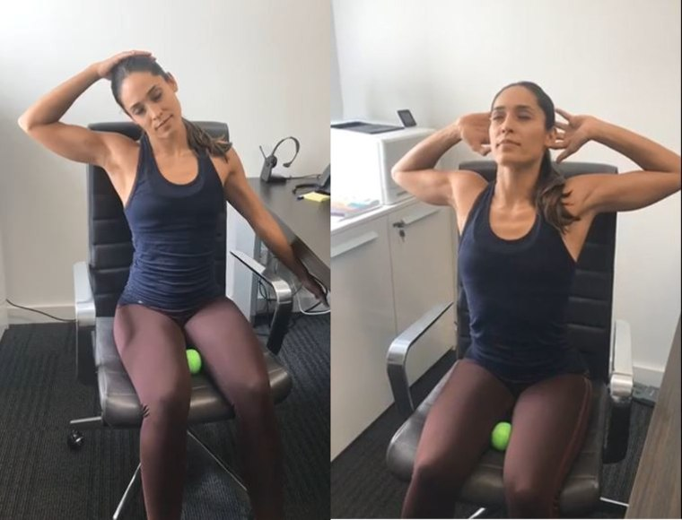 Grab a tennis a ball: These 5 desk exercises can help relieve neck and back pain