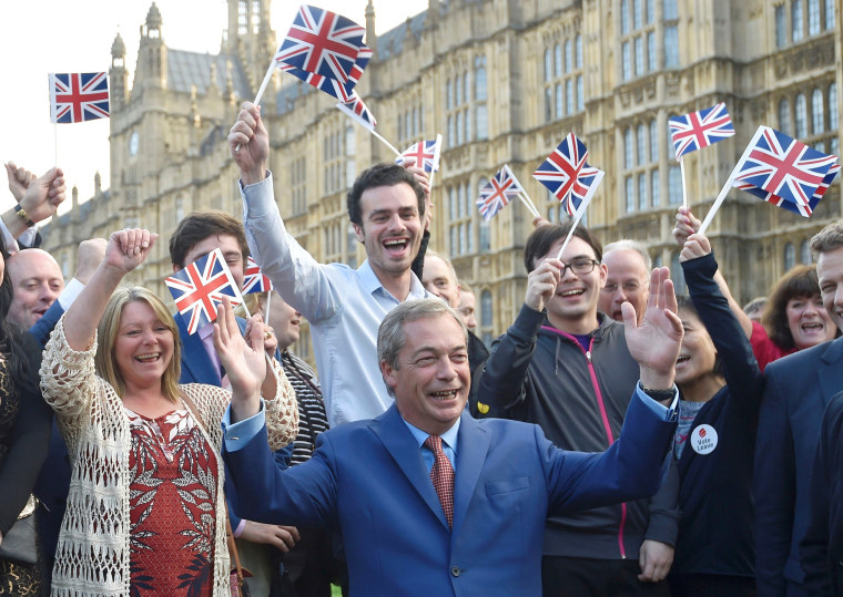 Image: Nigel Farage, the leader of the United Kingdom Independence Party (UKIP), makes a statement after Britain voted to leave the European Union in London