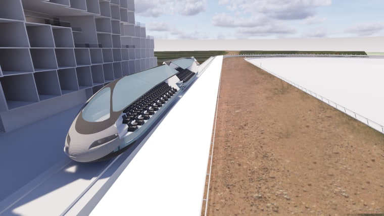 Image: A proposed new race track in New Mexico that would have a moving grandstand for spectators.
